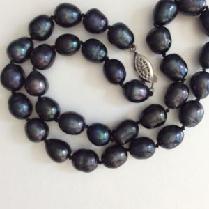 Jewelry - Real Baroque Blue Tahitian pearl necklace